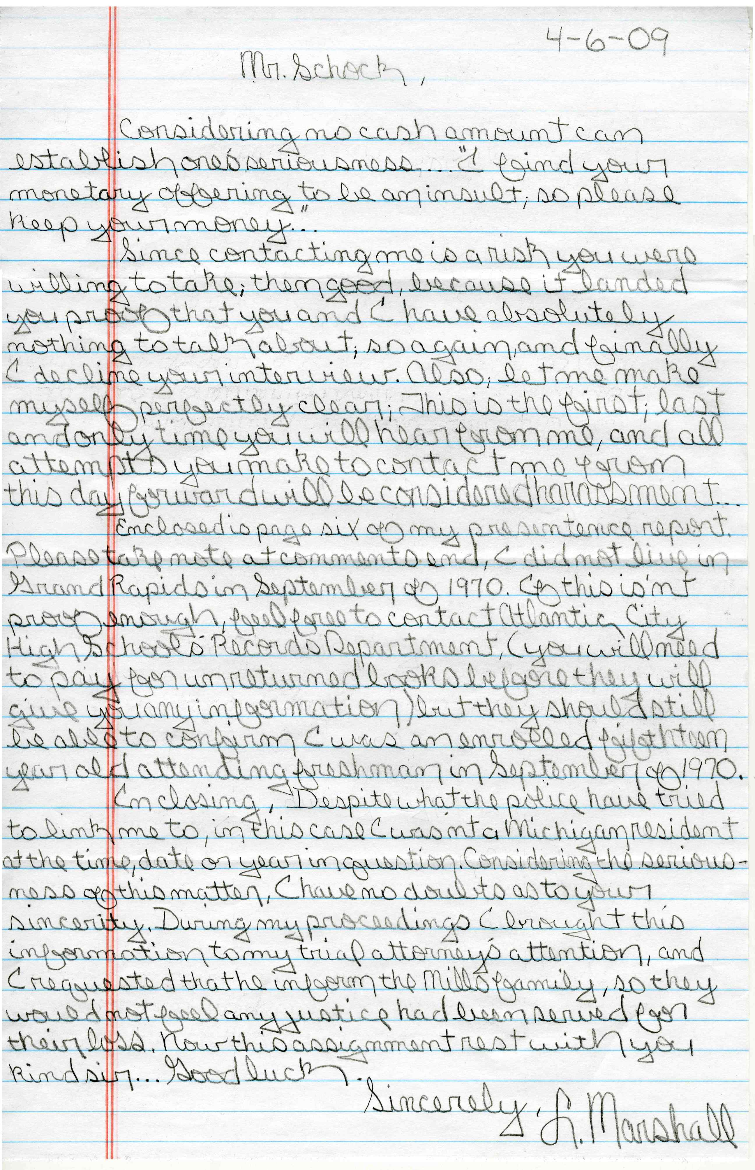Sample Handwritten Letter