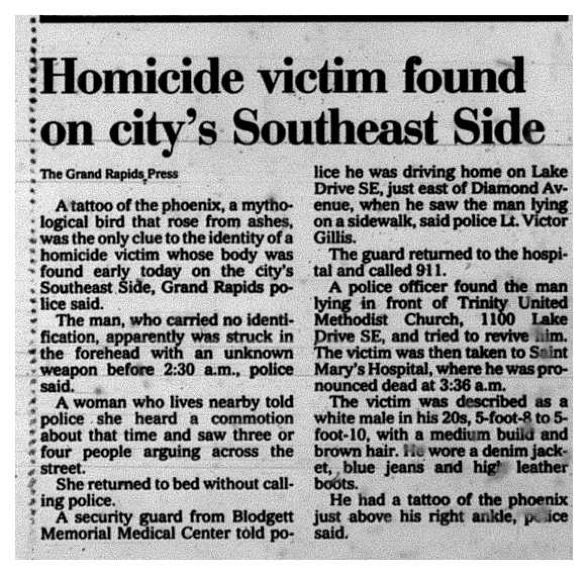 Body Found, June 10, 1990 Grand Rapids Press